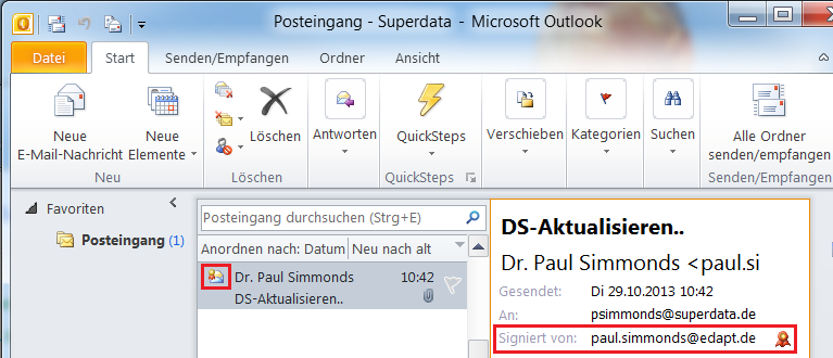 Signierte EMail in Outlook 2010